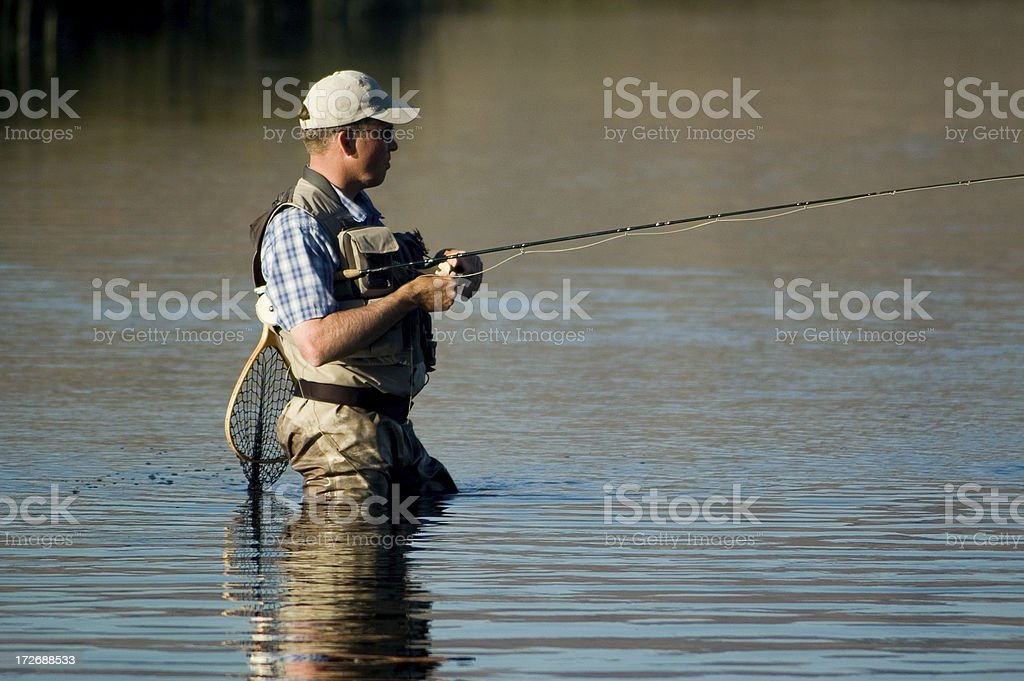 Fly fisherman wading in river royalty-free stock photo
