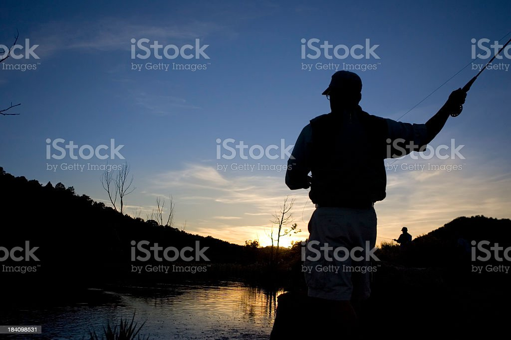 Fly Fishing at Sunset royalty-free stock photo