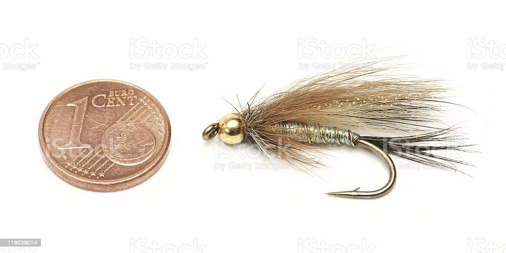 Fly fishing, bait, and one euro cent for size comparison royalty-free stock photo