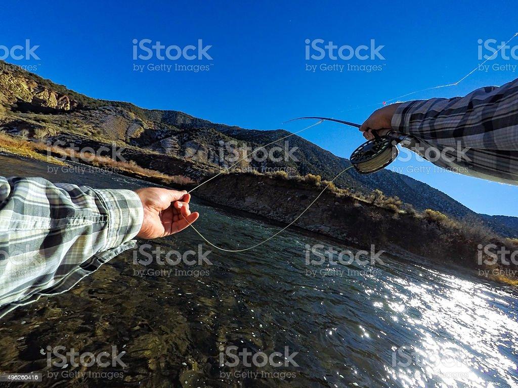 POV Fly Fishing Casting stock photo