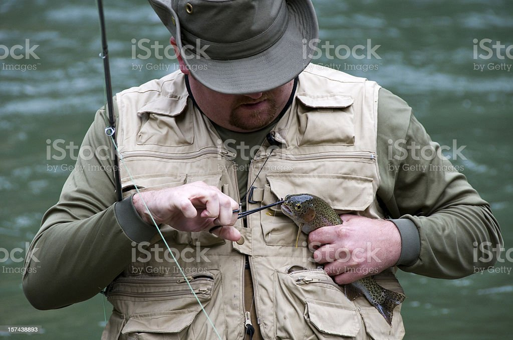 Fly Fishing Catch and Release royalty-free stock photo