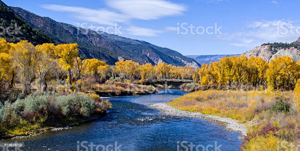 Fly Fishing Eagle River Fall stock photo