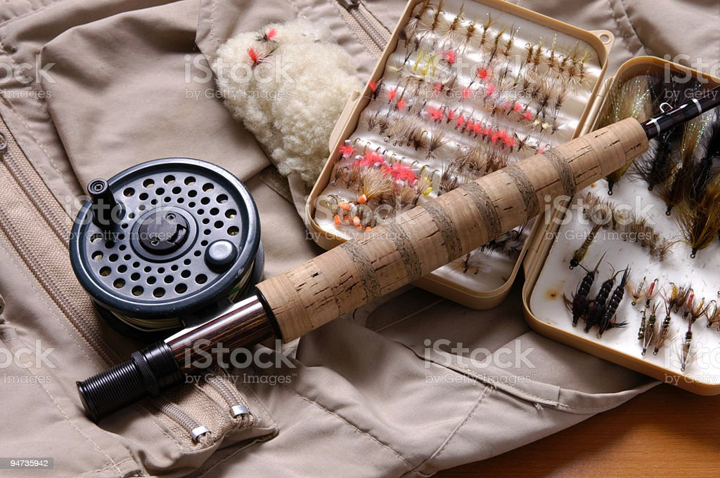 Fly fishing equipment royalty-free stock photo