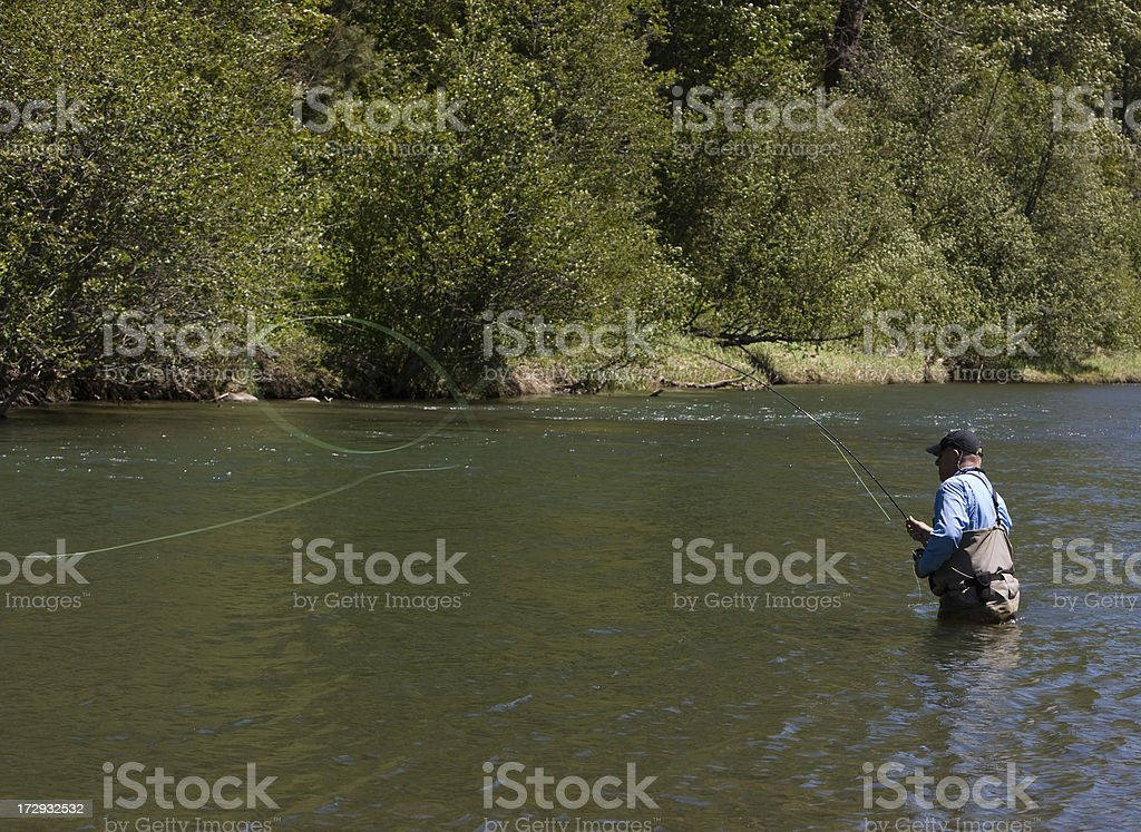 Fly fishing - Executing a Roll Cast royalty-free stock photo