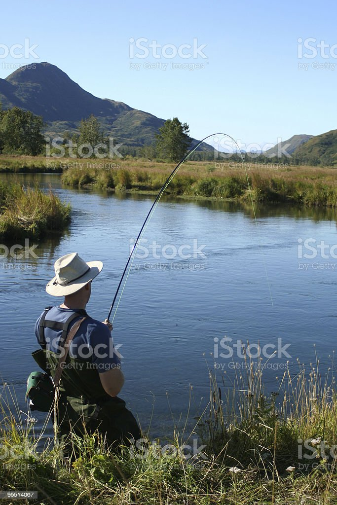 Fly Fishing Fight stock photo