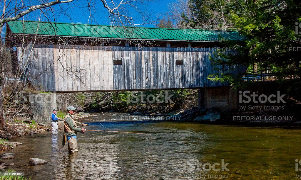 Fly Fishing  For Trout In Vermont stock photo