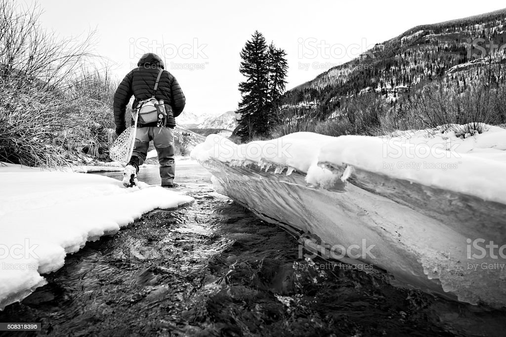 Fly Fishing Gore Creek Vail Winter stock photo