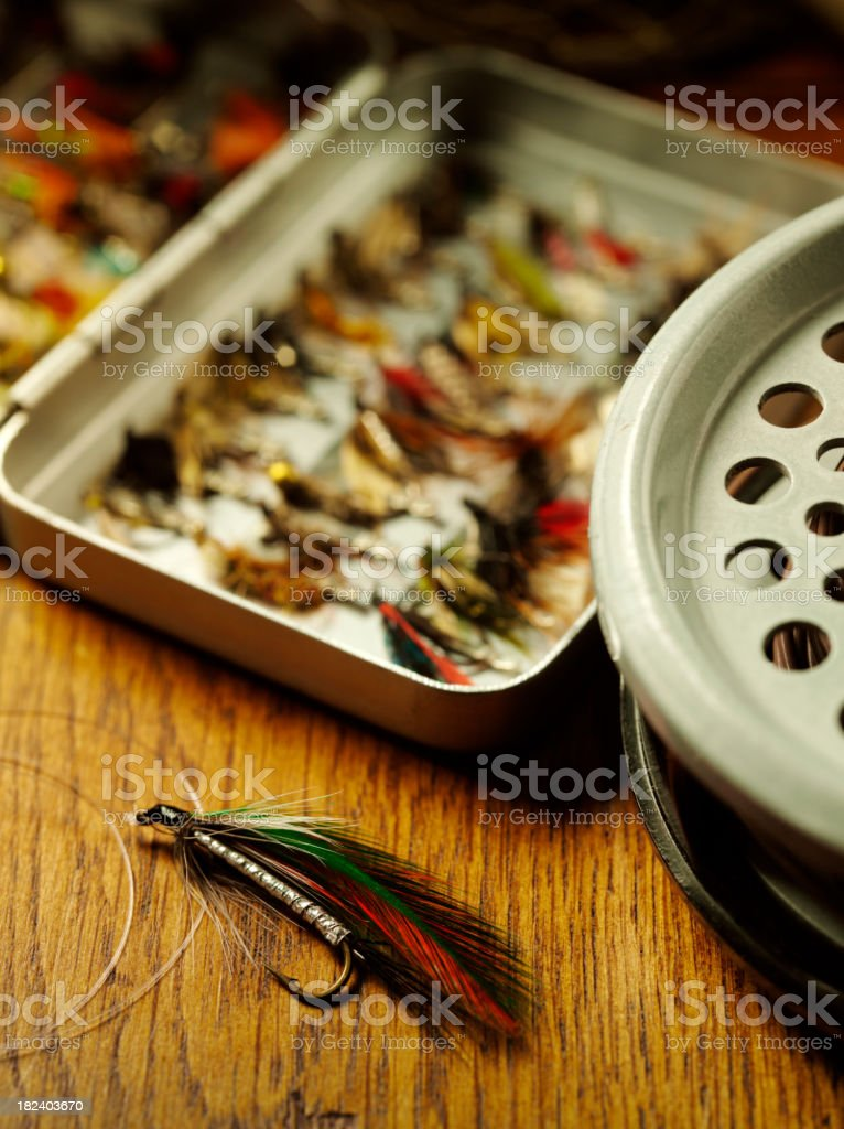 Fly Fishing Hook and Reel royalty-free stock photo