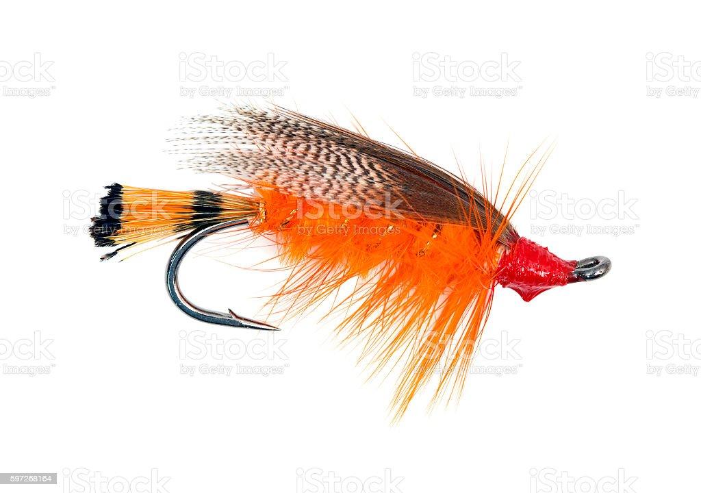Fly fishing hook stock photo