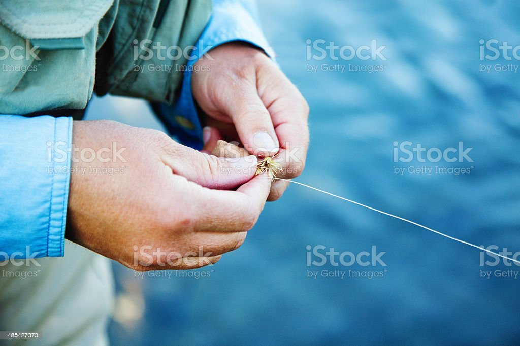Fly fishing: hooking the bait stock photo
