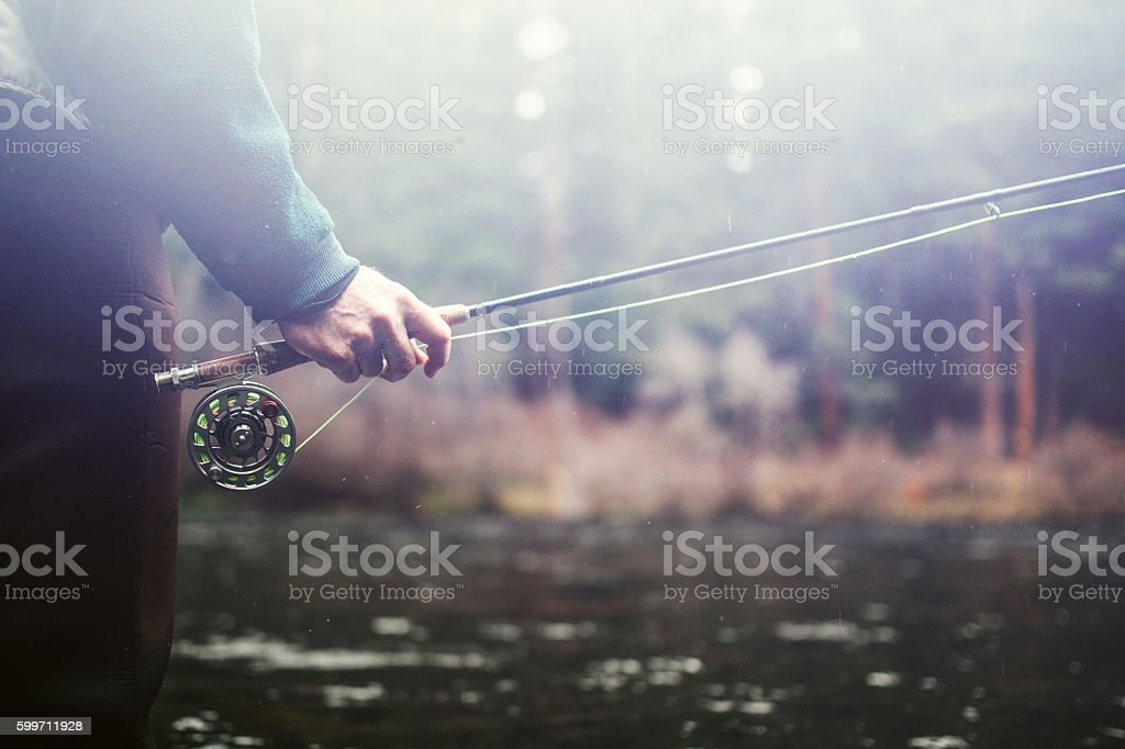 Fly Fishing in Bend Oregon stock photo