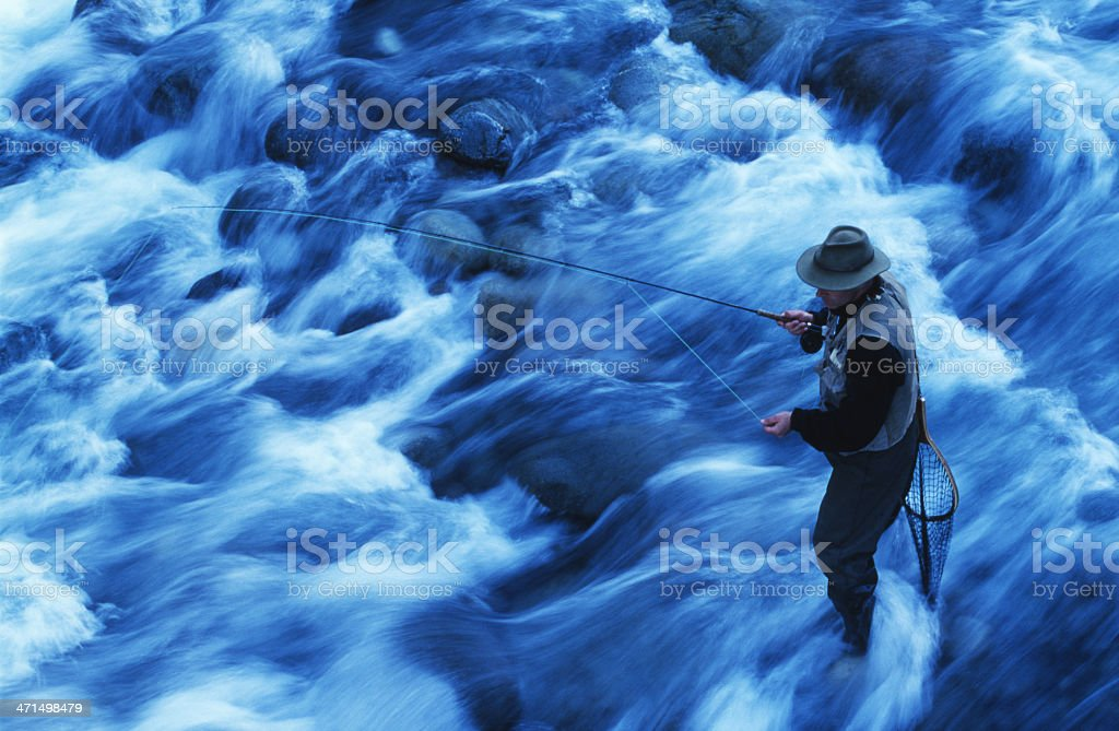 Fly Fishing in Chile royalty-free stock photo