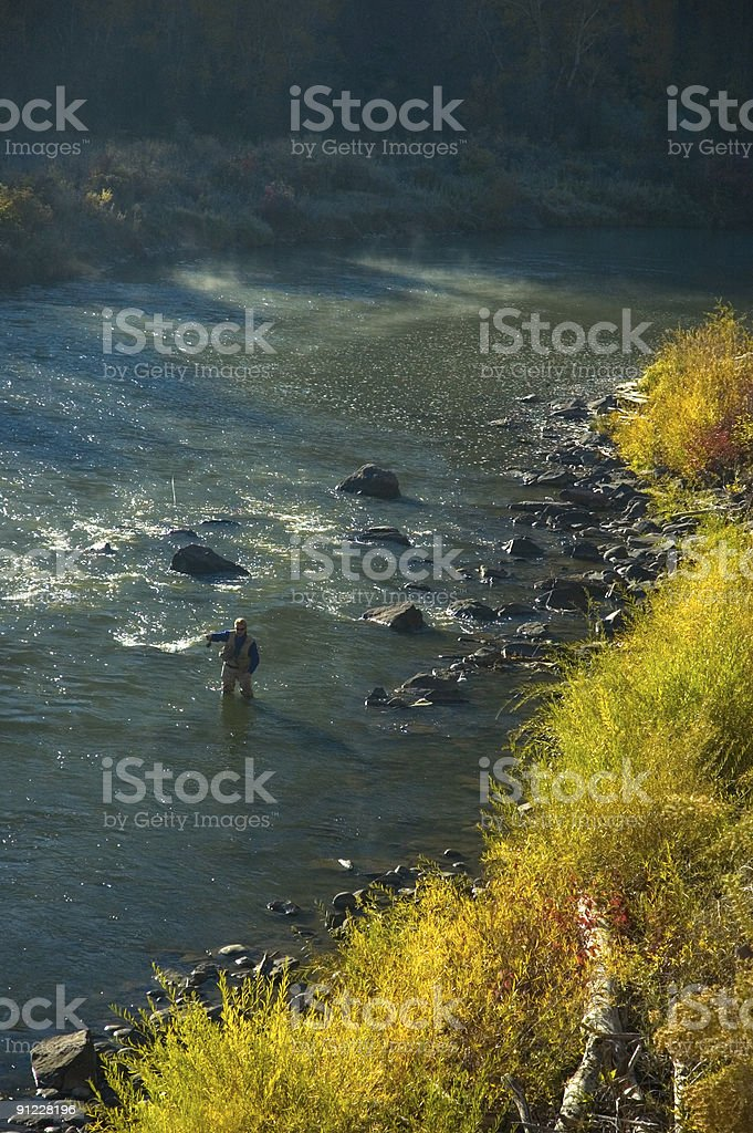 Fly Fishing in Fall - Western Colorado stock photo