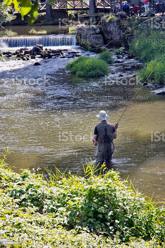 Fly Fishing in Lesse river, Belgium stock photo