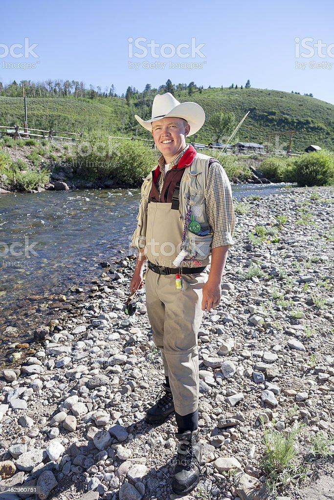 Fly Fishing in Montana stock photo