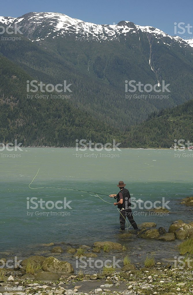 Fly Fishing in the Mountains royalty-free stock photo