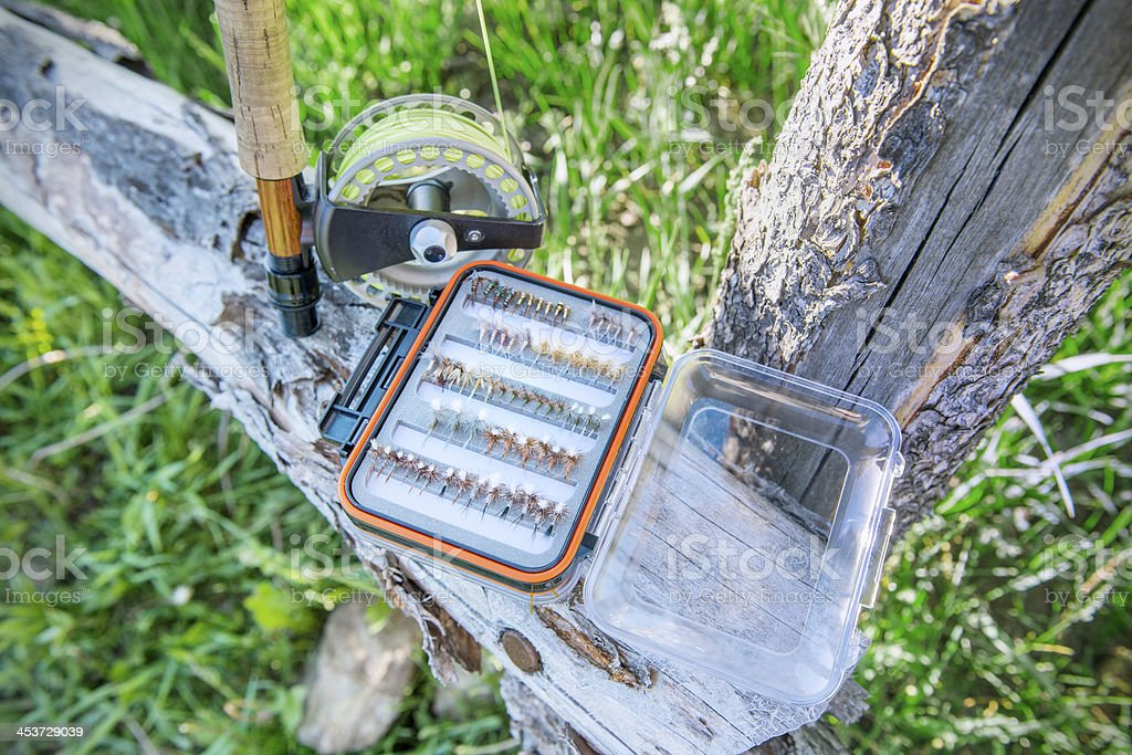 Fly Fishing Lures in Tackle Box royalty-free stock photo
