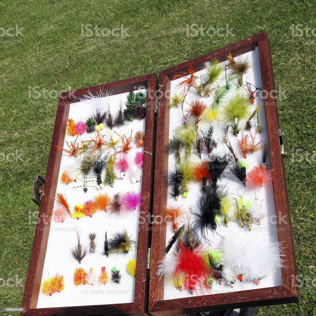 Fly Fishing Lures royalty-free stock photo