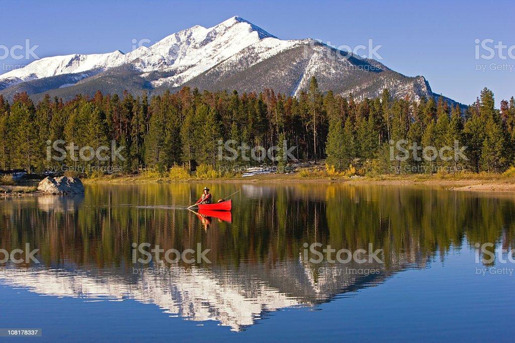 Fly Fishing On A Colorado Lake. royalty-free stock photo