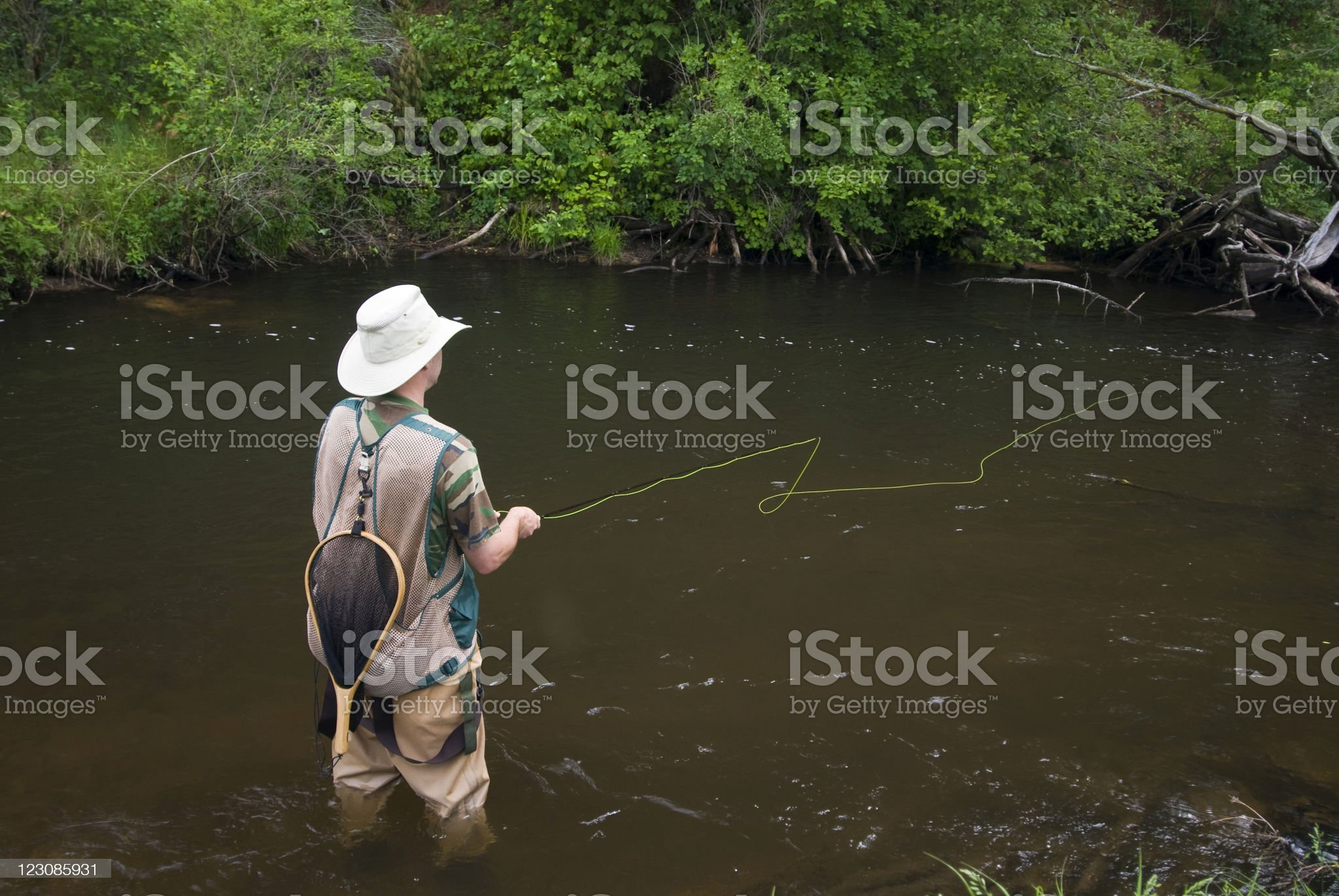 Fly Fishing on a Trout Stream royalty-free stock photo