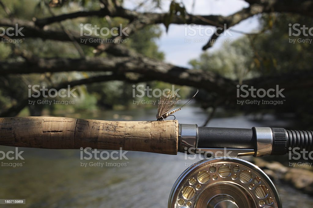 Fly fishing on mountain river stock photo