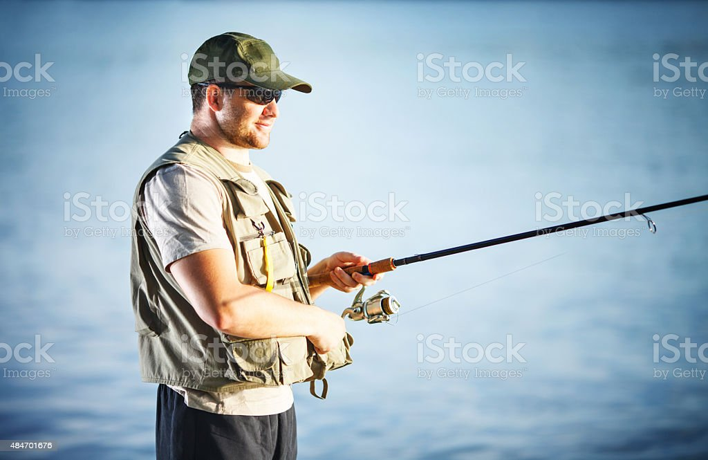 Fly fishing on river. stock photo