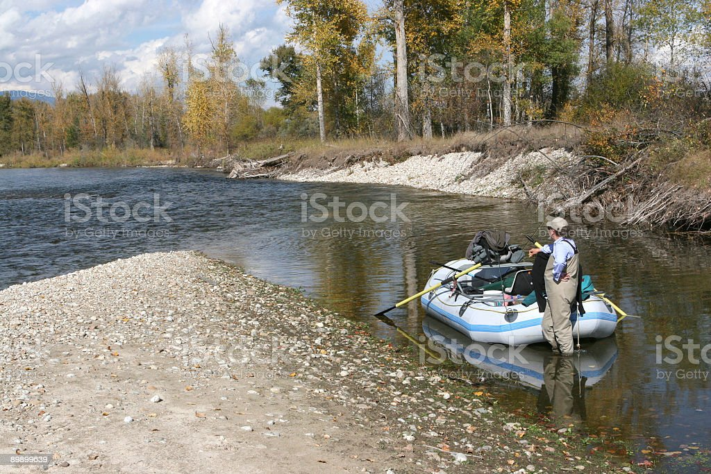 Fly fishing on the Bitterroot River in Montana royalty-free stock photo