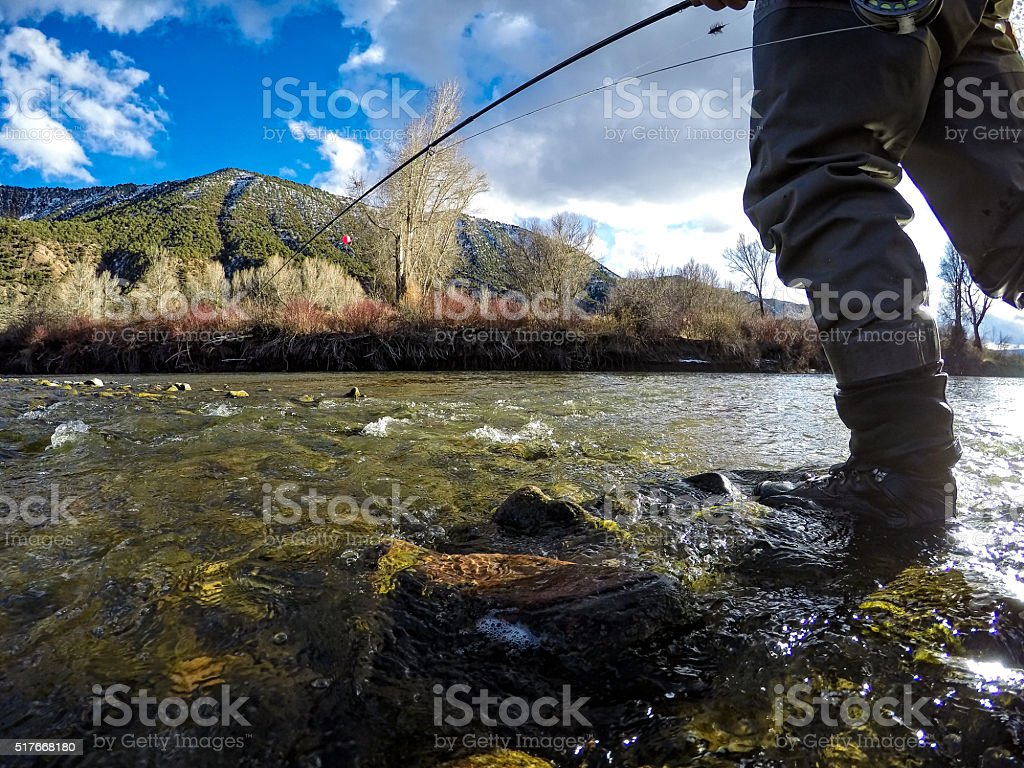 Fly Fishing POV on the Eagle River in Late WInter stock photo