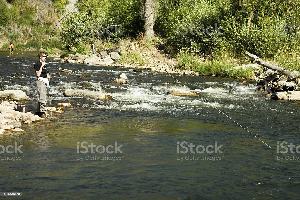 Fly fishing on the Provo stock photo