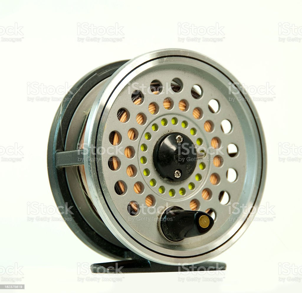Fly Fishing Reel... on White royalty-free stock photo