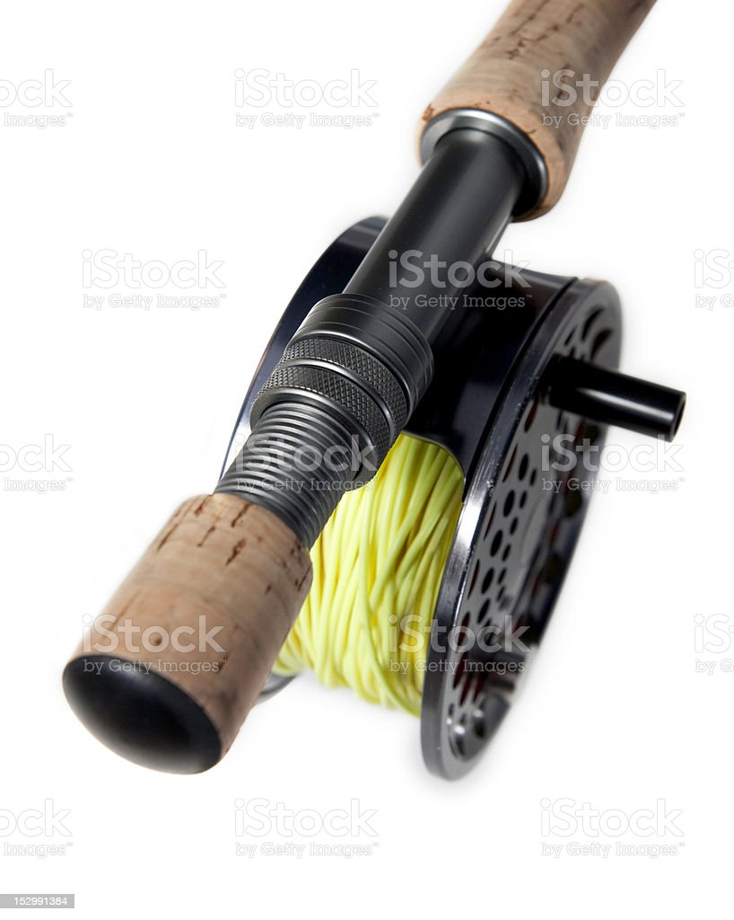 Fly fishing Rod and Reel stock photo
