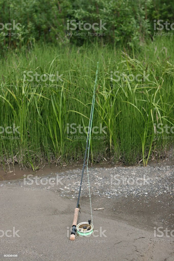 Fly Fishing Rod with a Floating Line royalty-free stock photo