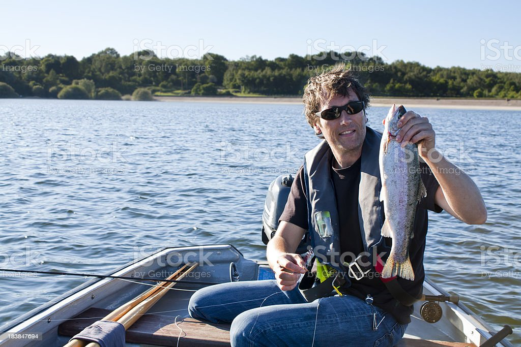 Fly Fishing Success stock photo