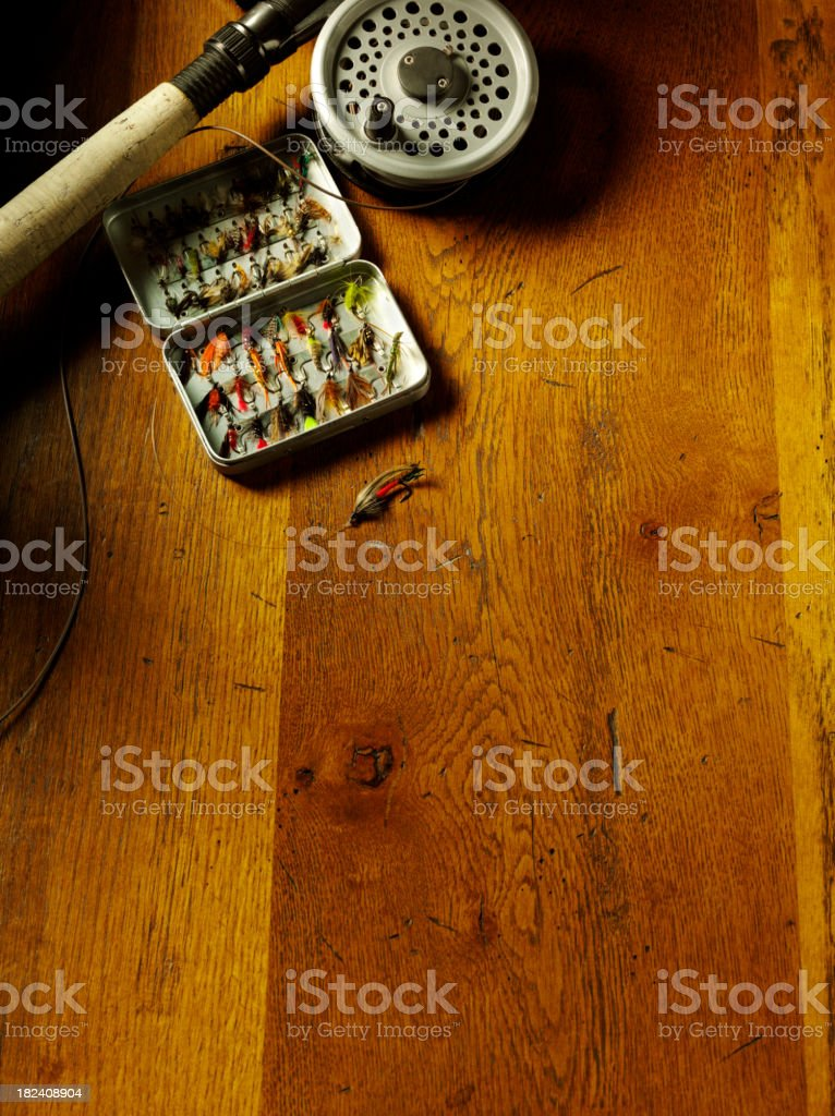 Fly Fishing Tackle with Copy Space royalty-free stock photo
