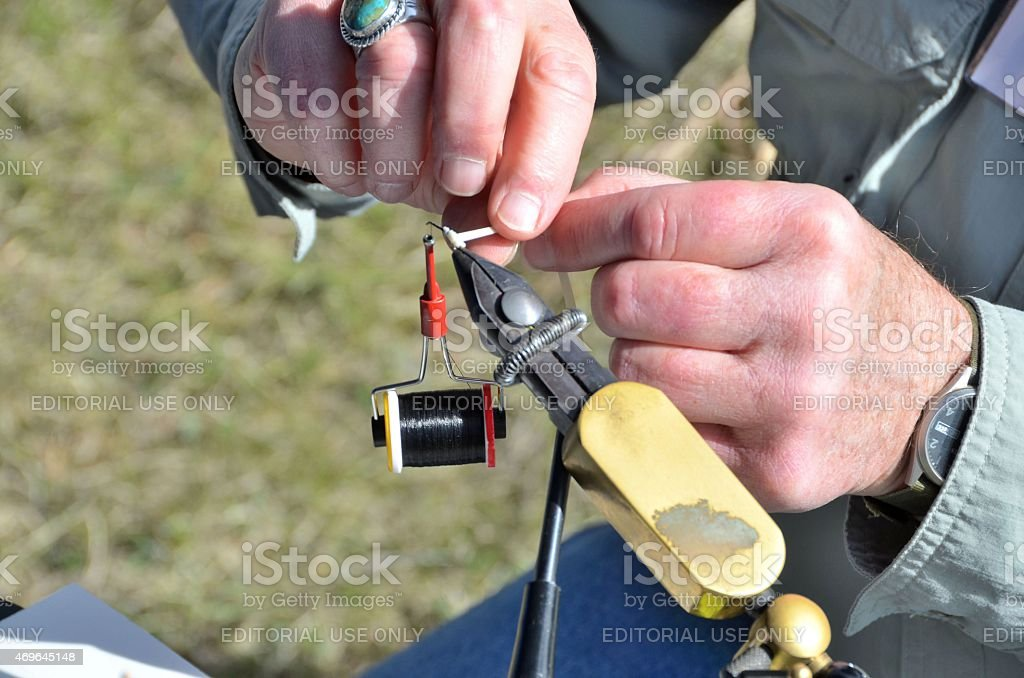 Fly Fishing Tying stock photo