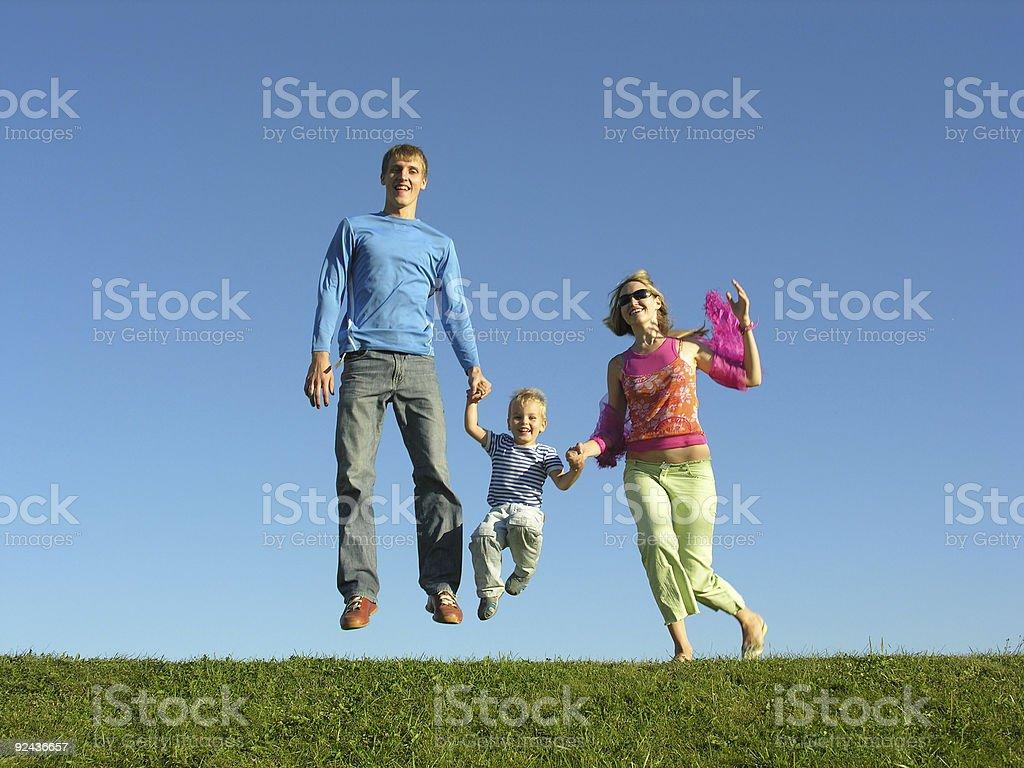 fly happy family on blue sky 2 royalty-free stock photo