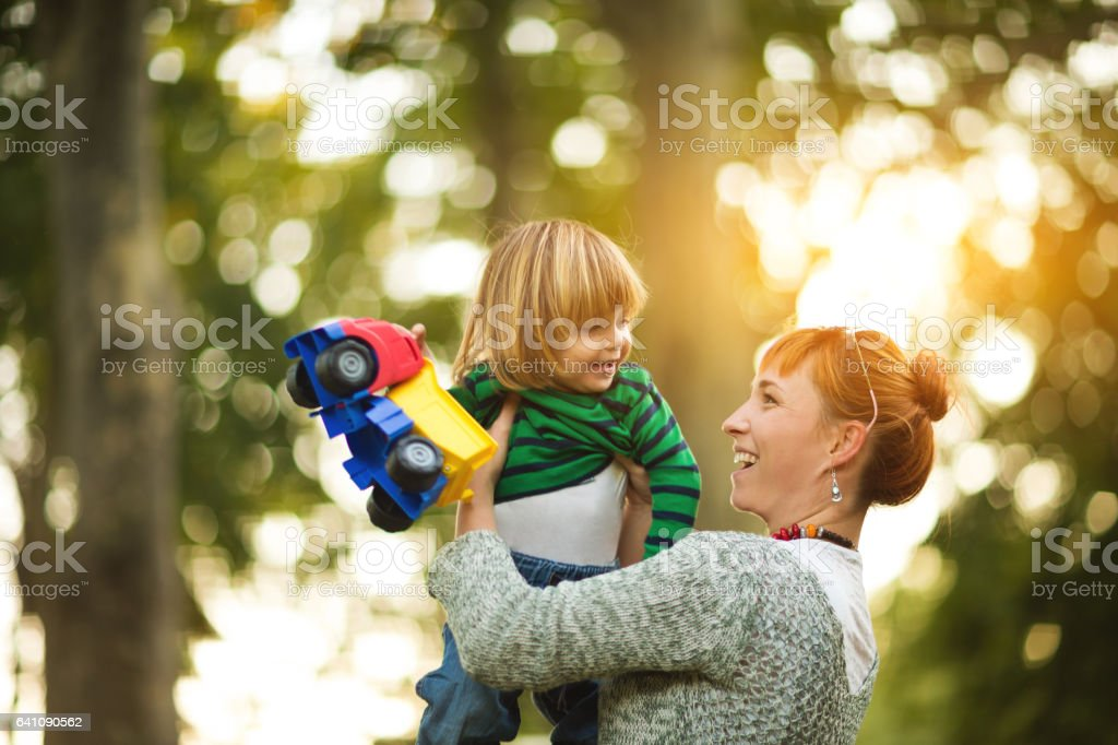 Fly little boy! stock photo
