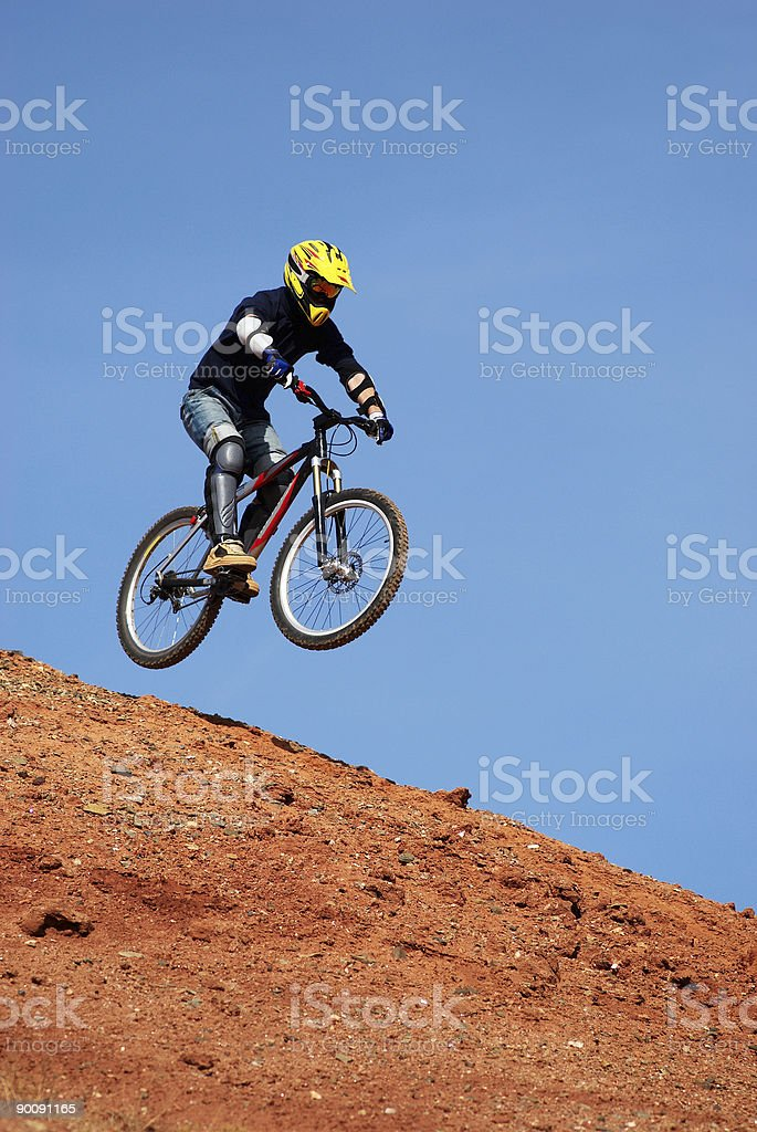 Fly mountain biker royalty-free stock photo