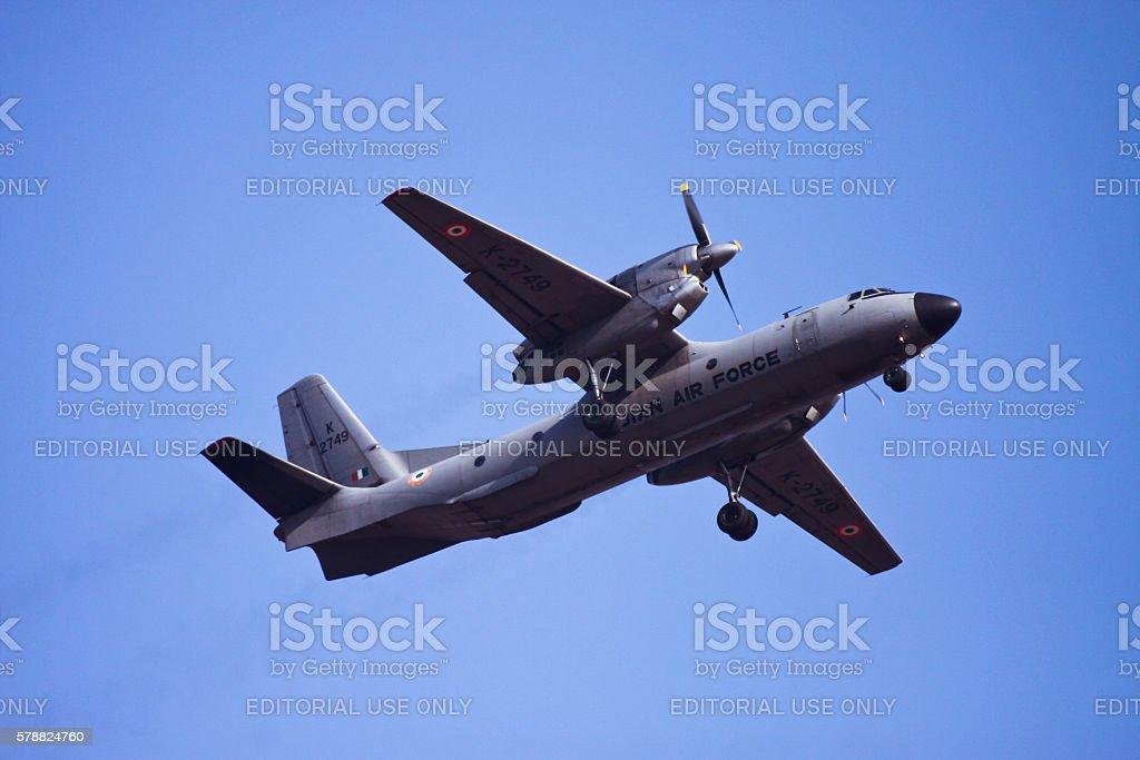 Fly pass of Antonov An-32 stock photo