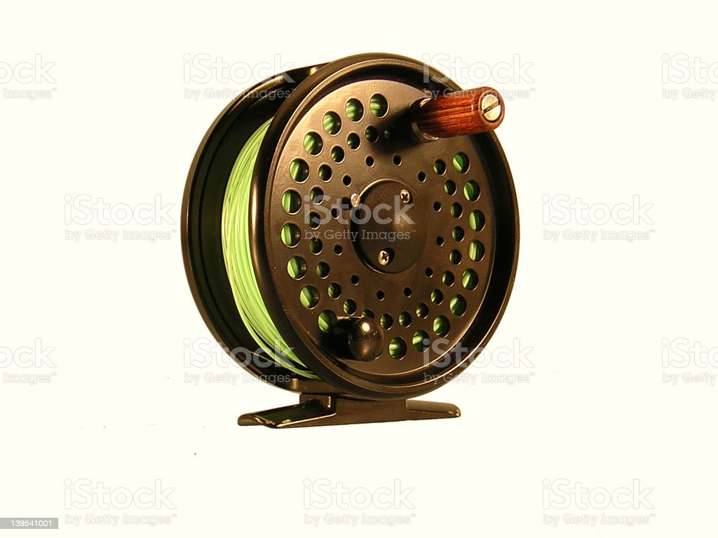 fly reel close up royalty-free stock photo