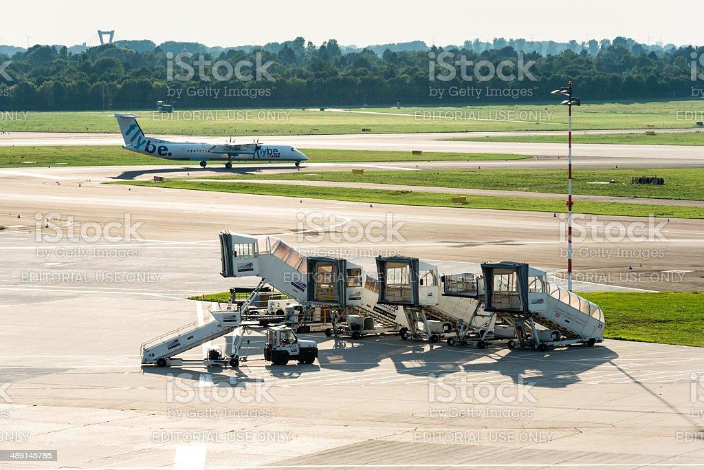 flybe Bombardier Dash 8Q-400 on Duesseldorf international airport stock photo