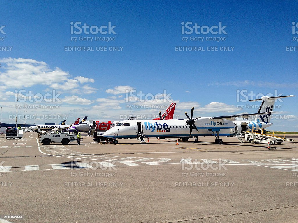 Flybe jet parked at Leeds Bradford international airport stock photo
