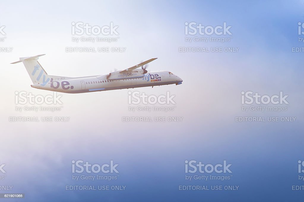 Flybe plane taking off stock photo
