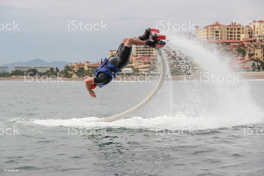 Flyboard extreme sport adventure stock photo