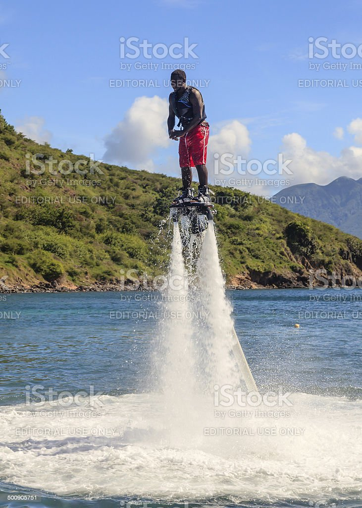 Flyboarding In The Caribbean royalty-free stock photo