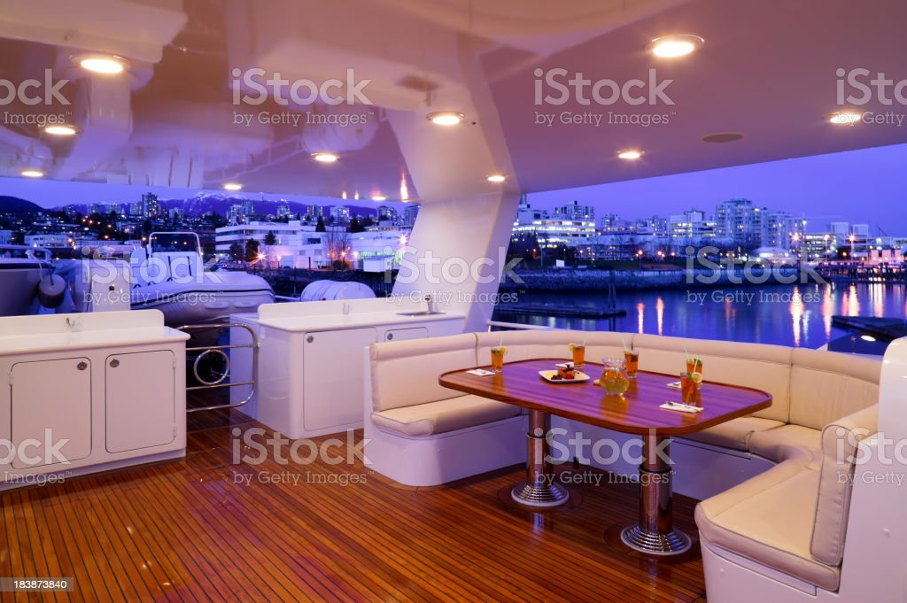 flybridge deck luxury motor yacht royalty-free stock photo