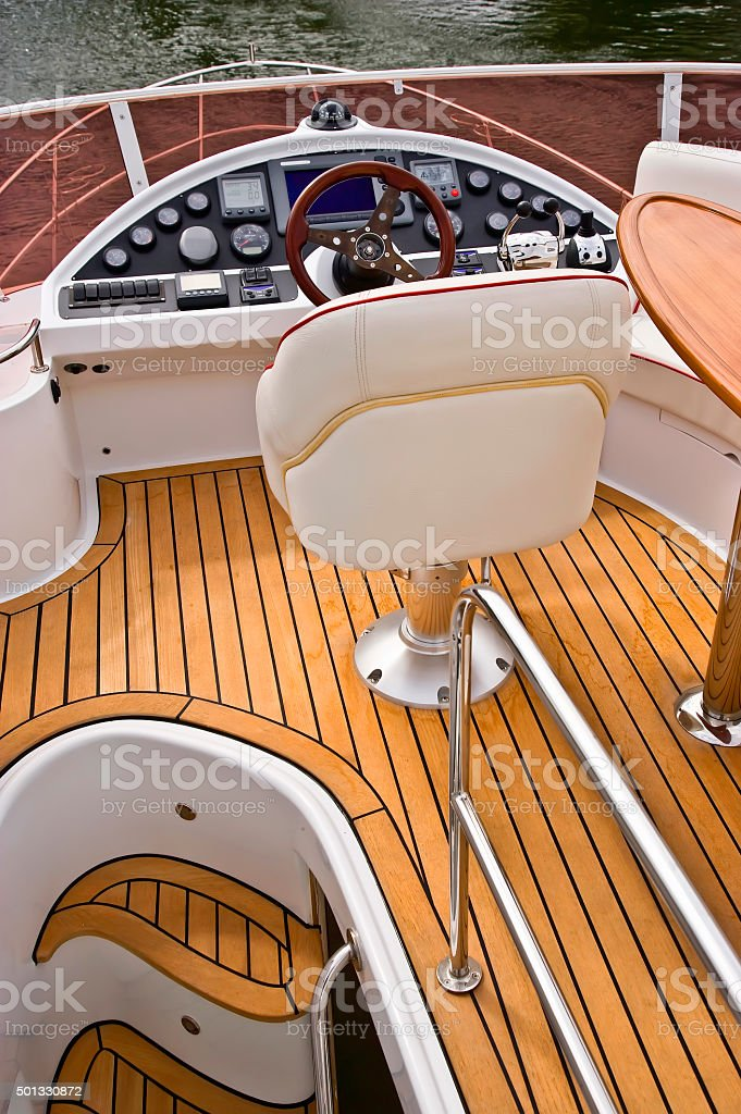 Flydeck Helm of a Powerboat cruiser royalty-free stock photo