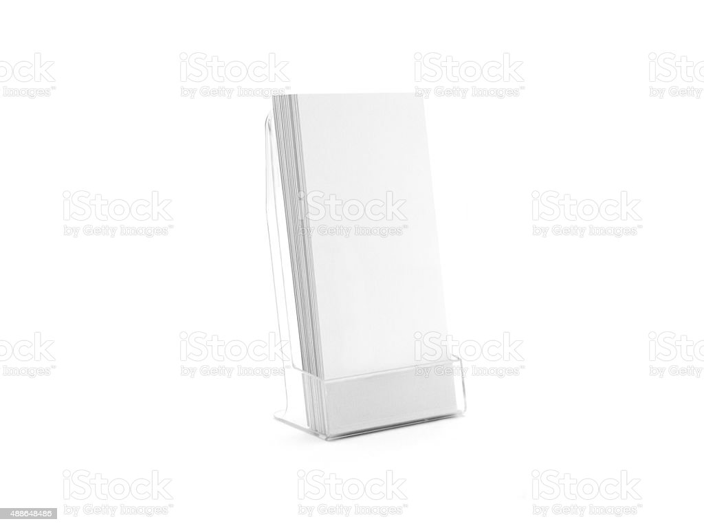 Flyer glass plastic holder. Flyer mock up stand. Brochure holding. stock photo