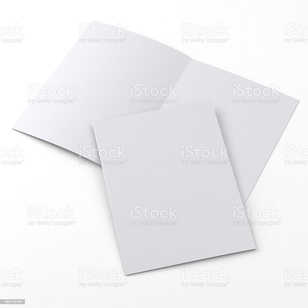 flyer or leaflet in a4 size on white stock photo