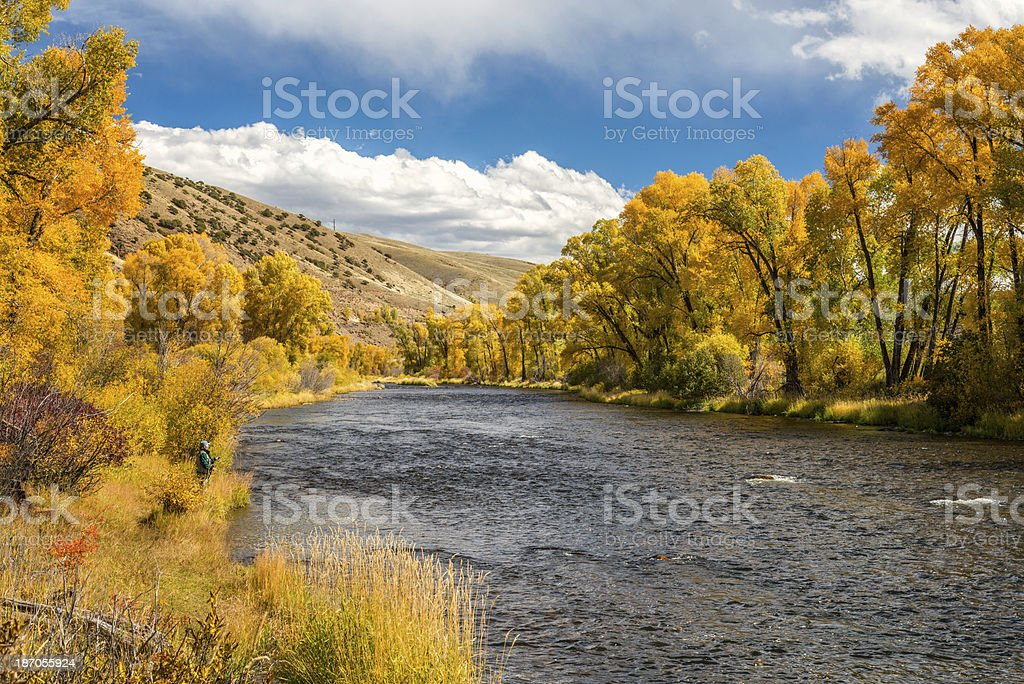 Fly-fisherwoman Scanning the Colorado River for a Good Location royalty-free stock photo